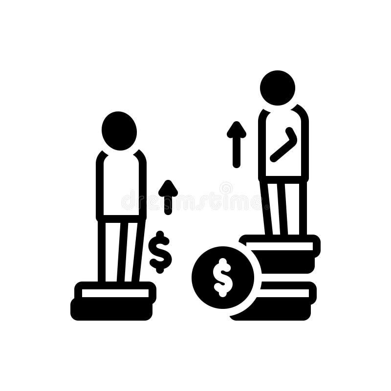 Zwart stevig pictogram voor Ongelijkheid, verschil en kansen royalty-vrije illustratie