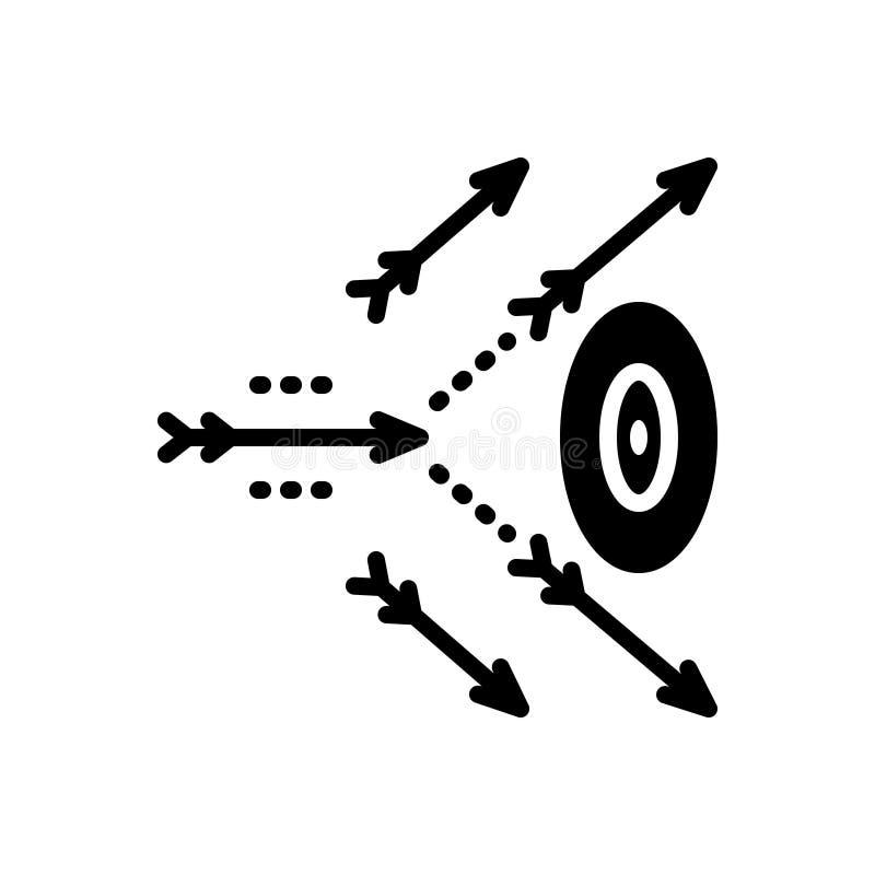 Zwart stevig pictogram voor Onnauwkeurig, het missen en het raken royalty-vrije illustratie