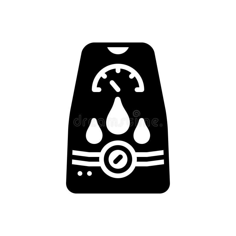 Zwart stevig pictogram voor Ontvochtiging, veredelingsmiddel en vochtigheid stock illustratie