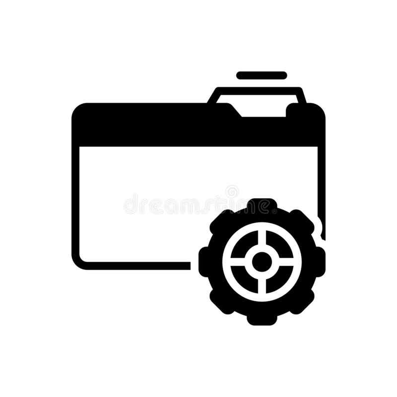 Zwart stevig pictogram voor Opstelling, voorziening en organisatie vector illustratie