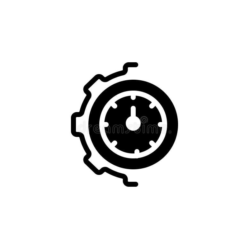 Zwart stevig pictogram voor Optimalisering, beheer en tandrad stock illustratie
