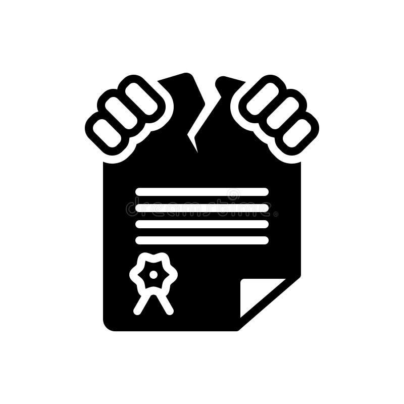 Zwart stevig pictogram voor Overtreding, schending en breuk vector illustratie