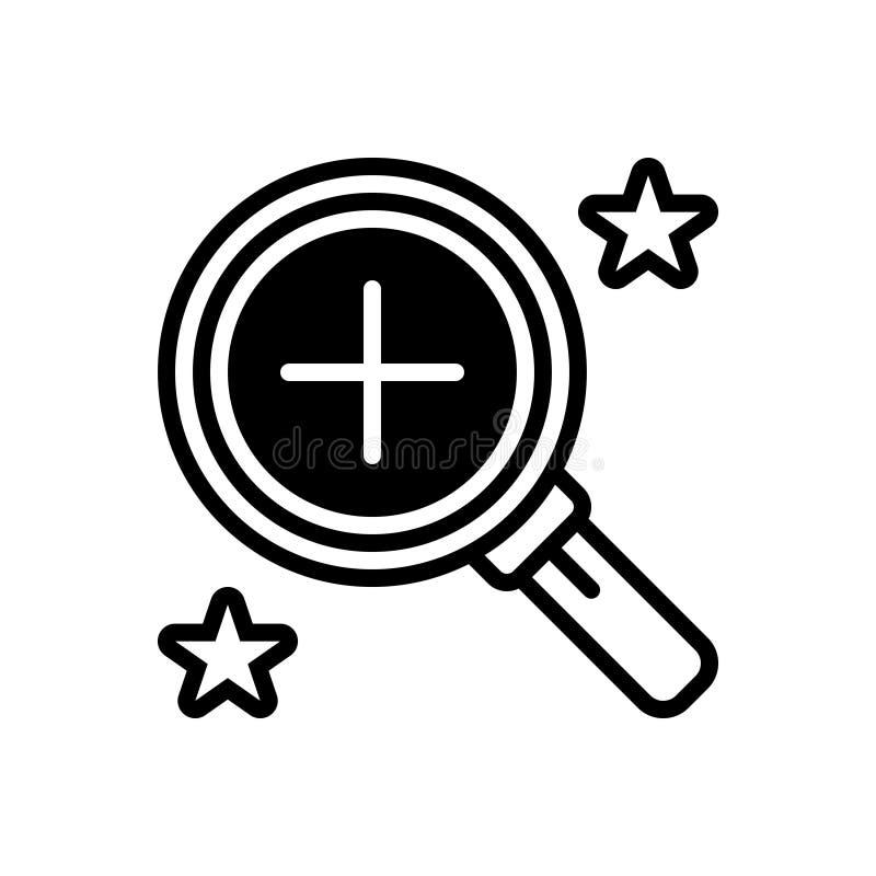 Zwart stevig pictogram voor Overzicht, inspectie en onoplettendheid vector illustratie