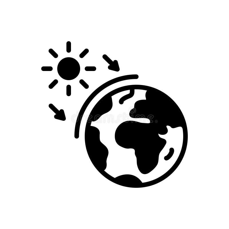 Zwart stevig pictogram voor Ozon, wereld en aarde vector illustratie