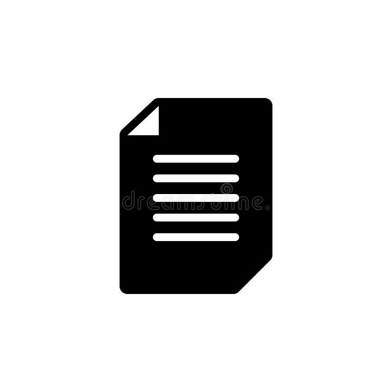 Zwart stevig pictogram voor Pagina, nieuw en wit stock illustratie