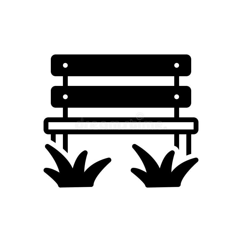 Zwart stevig pictogram voor Parkbench, park en bank vector illustratie