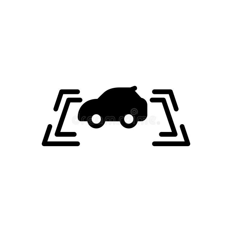 Zwart stevig pictogram voor Parkerensensor, veiligheid en voertuig stock illustratie