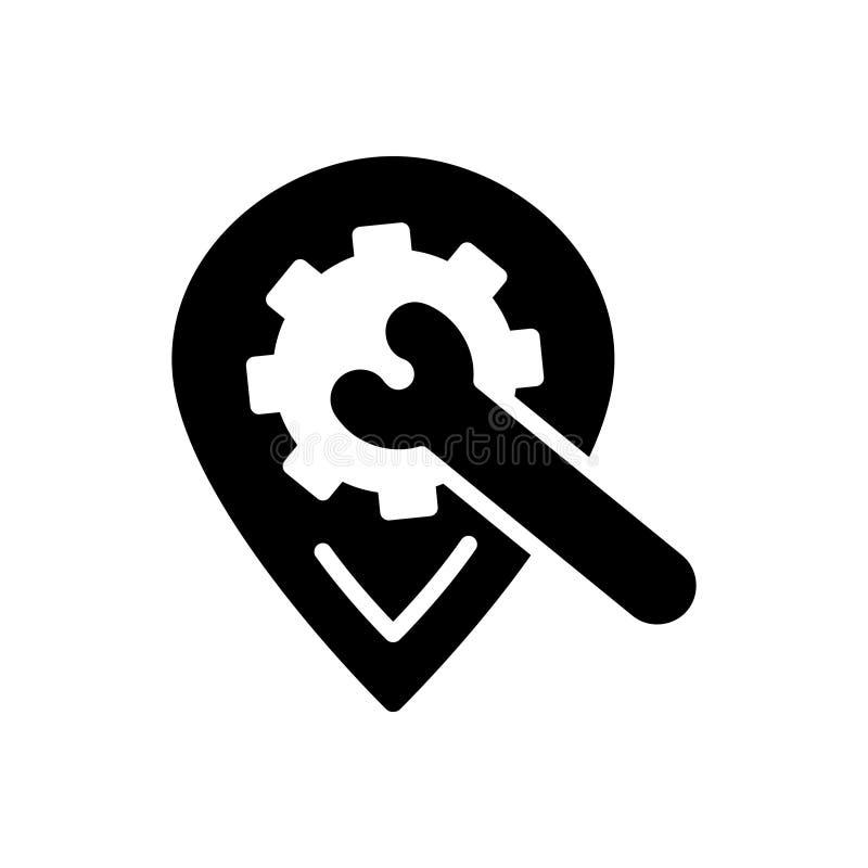Zwart stevig pictogram voor Plaatsen Optimalisering, plaats en het plaatsen vector illustratie