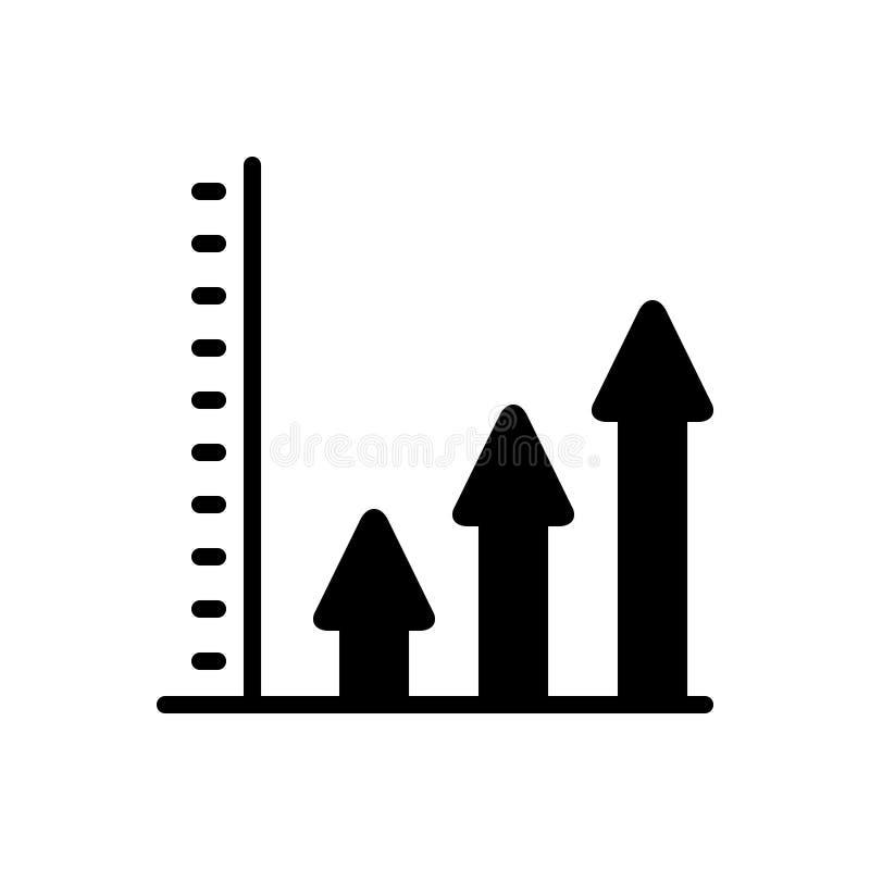 Zwart stevig pictogram voor Productiviteit, verhoging en verhoging stock illustratie