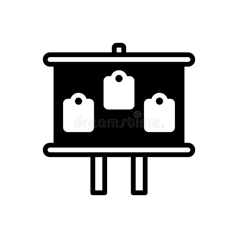Zwart stevig pictogram voor Raad, facia en zwarte raad stock illustratie
