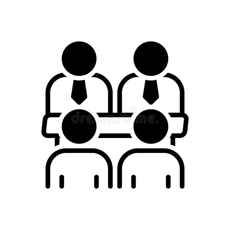 Zwart stevig pictogram voor Raadsvergadering, mededeling en conferentie royalty-vrije illustratie