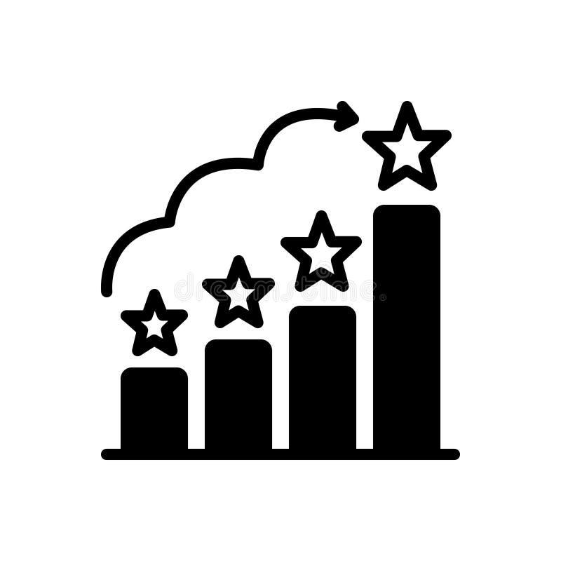 Zwart stevig pictogram voor Rangen, classificatie en tevredenheid stock illustratie