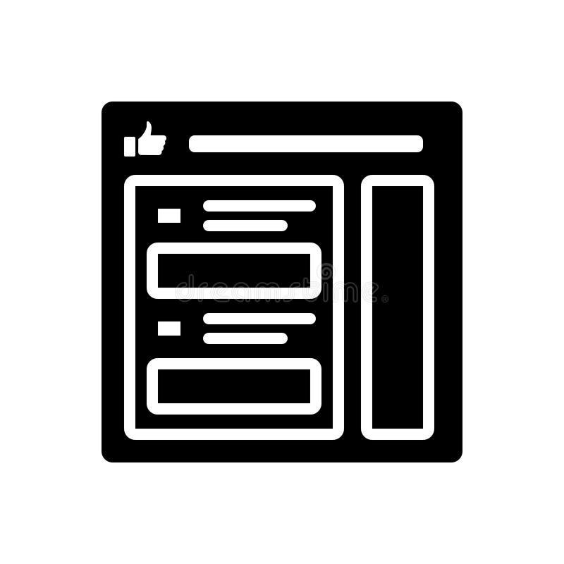 Zwart stevig pictogram voor reclame, facebook advertentie en optimalisering royalty-vrije illustratie