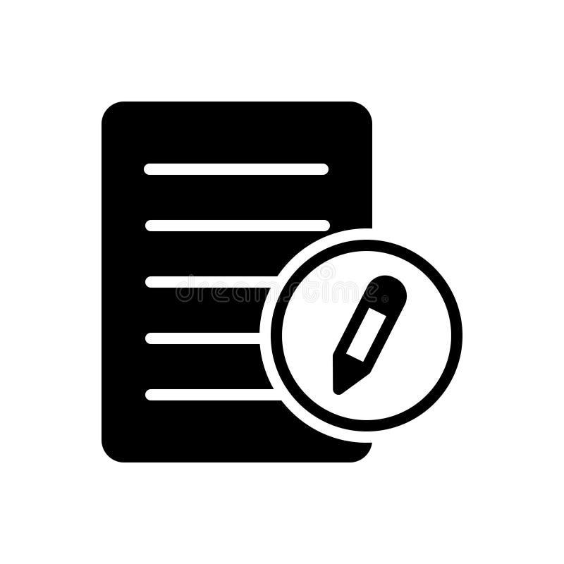 Zwart stevig pictogram voor Registratie, registratie en gezag vector illustratie