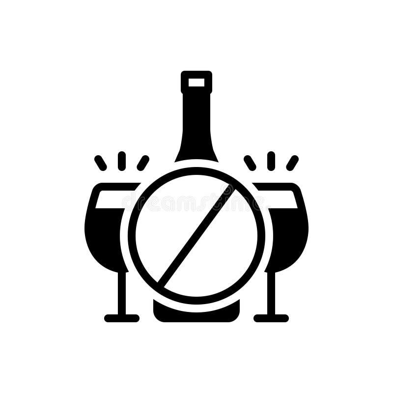 Zwart stevig pictogram voor Remming, verbod en taboe royalty-vrije illustratie