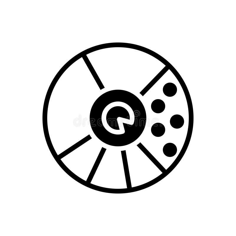 Zwart stevig pictogram voor Ronde Waardegrafiek, analytics en app royalty-vrije illustratie