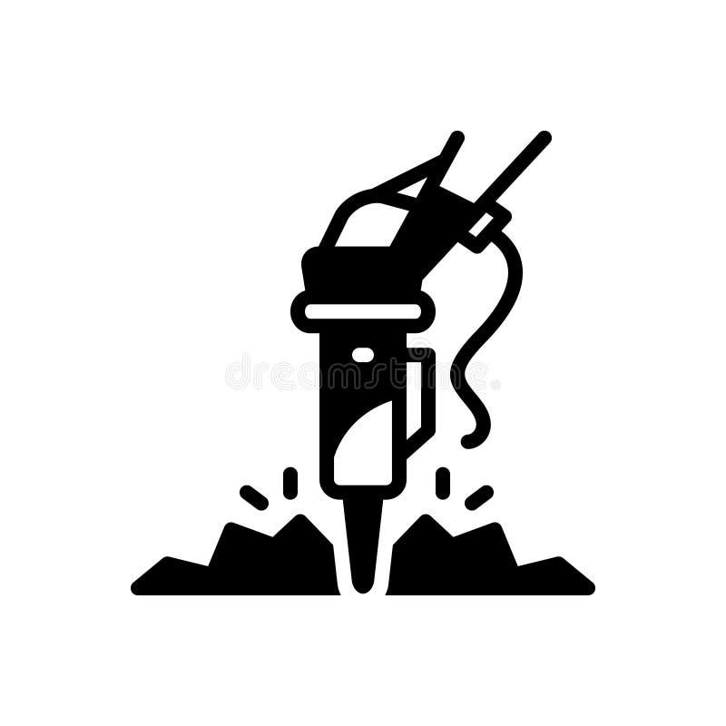 Zwart stevig pictogram voor Rotsbreker, hamer en bouw vector illustratie