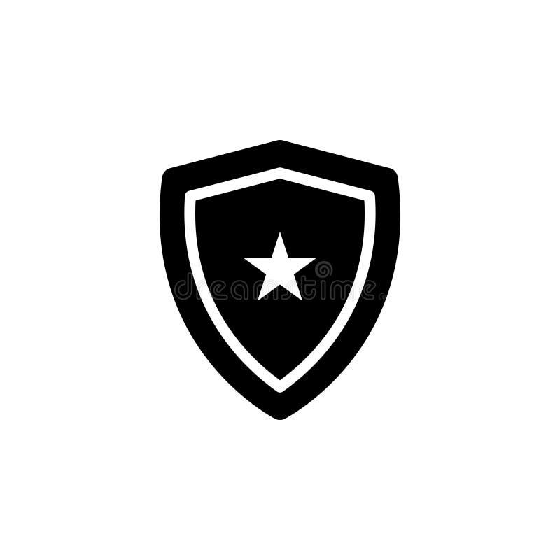 Zwart stevig pictogram voor Schild, pantser en anker royalty-vrije illustratie
