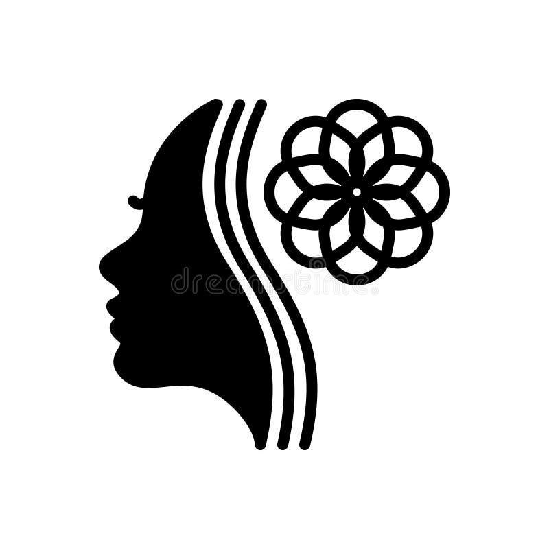 Zwart stevig pictogram voor Schoonheidsspecialist, schoonheidsmiddel en product royalty-vrije illustratie