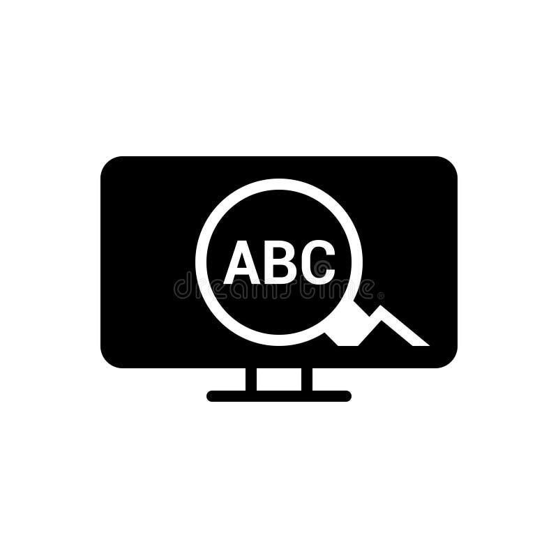 Zwart stevig pictogram voor Sleutelwoord, optimalisering en ontwikkeling stock illustratie