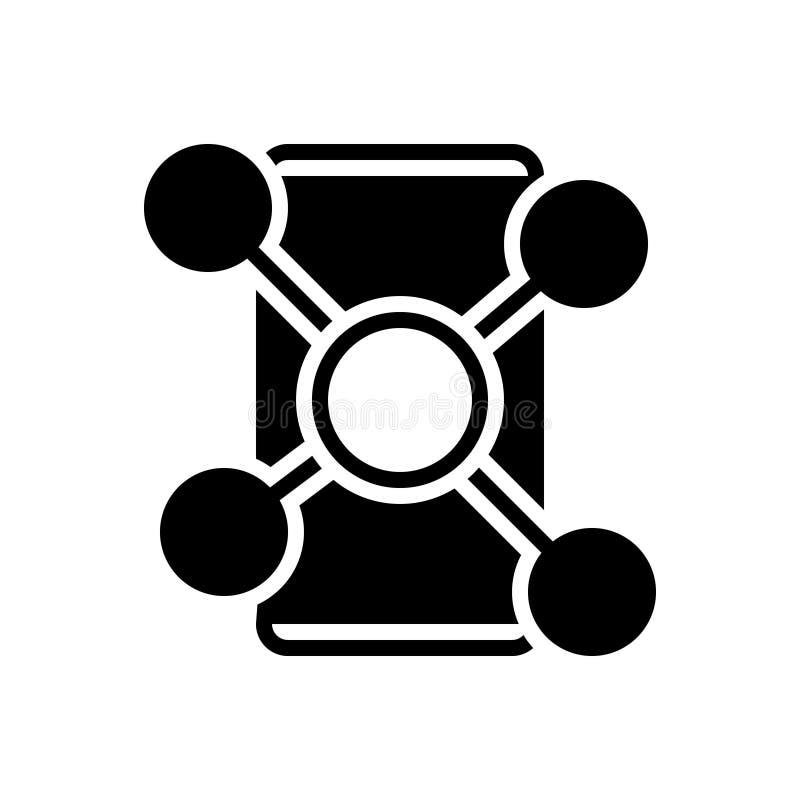 Zwart stevig pictogram voor Sociale Netwerk, mededeling en structuur vector illustratie