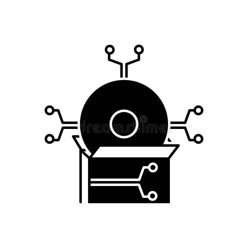 Zwart stevig pictogram voor Software, technologie en toepassing stock illustratie
