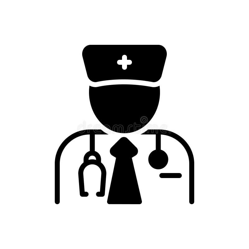 Zwart stevig pictogram voor Specialist, deskundige en kenner vector illustratie
