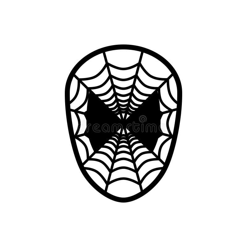 Zwart stevig pictogram voor Spinmasker, spin en stuk speelgoed royalty-vrije illustratie