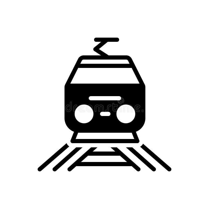 Zwart stevig pictogram voor Spoorweg, trein en metro vector illustratie