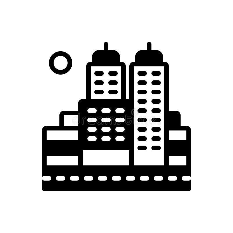 Zwart stevig pictogram voor Stad, stad en voorstad royalty-vrije illustratie