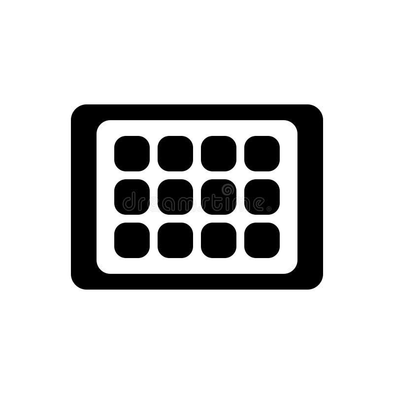 Zwart stevig pictogram voor tablet, androïde en gadget stock illustratie
