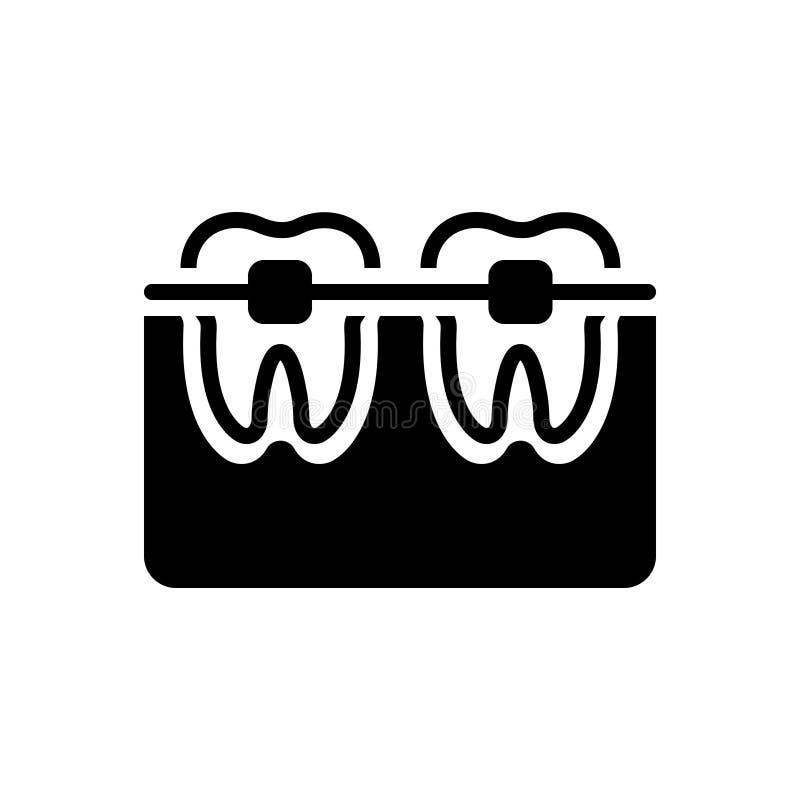 Zwart stevig pictogram voor Tand met Steunen, orthodontie en prothese vector illustratie