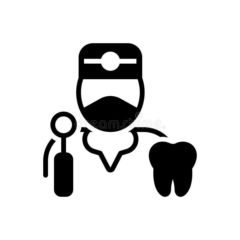 Zwart stevig pictogram voor Tandarts, tand en tand royalty-vrije illustratie
