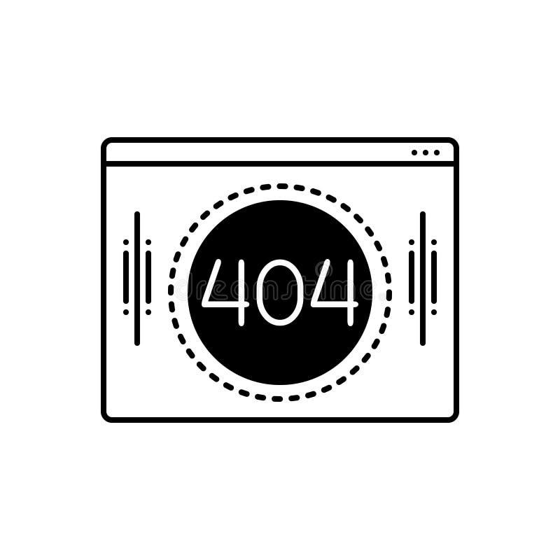 Zwart stevig pictogram voor 404 technologie, informatie en in stock illustratie