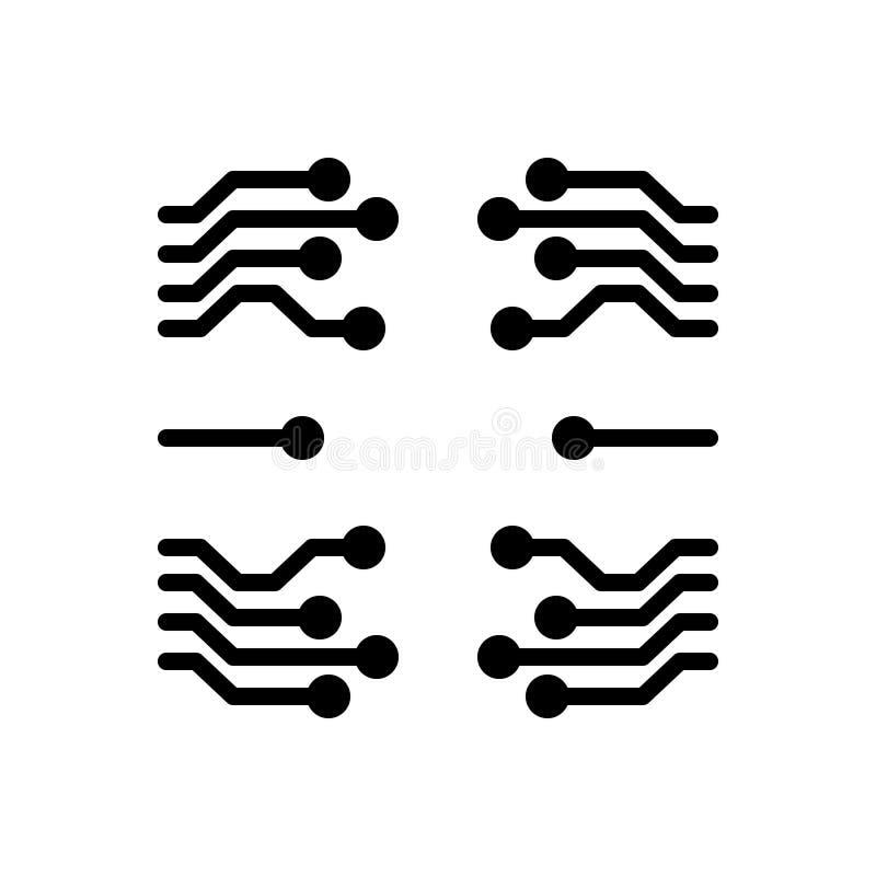 Zwart stevig pictogram voor Technologie, software en informatie vector illustratie