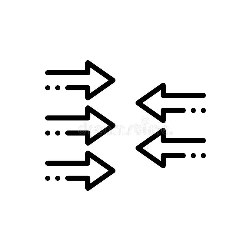 Zwart stevig pictogram voor Tegendeel, tegen en tegengestelde royalty-vrije illustratie