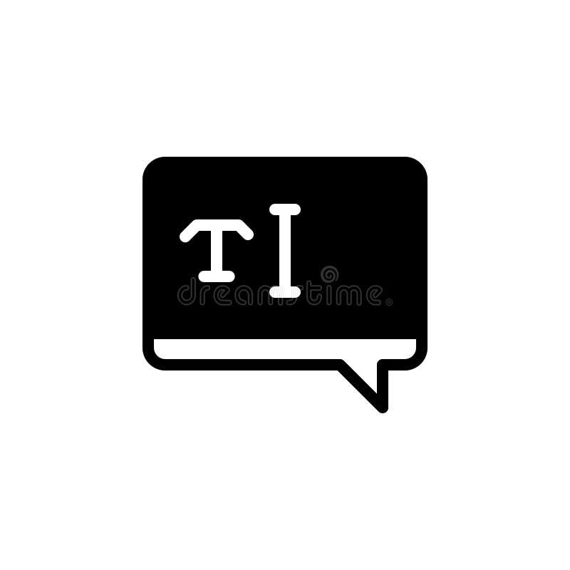 Zwart stevig pictogram voor Tekst, typografie en brief vector illustratie