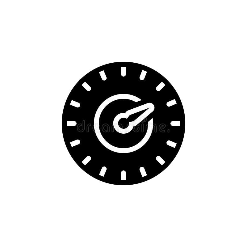 Zwart stevig pictogram voor Test, snelheid en snelheidsmeter vector illustratie