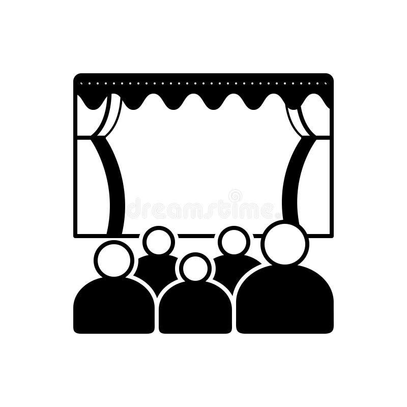 Zwart stevig pictogram voor Theater, bioskoop en stadium stock illustratie