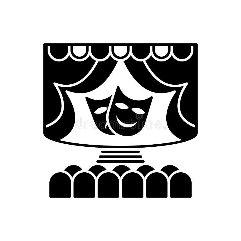 Zwart stevig pictogram voor Theater, stadium en schijnwerper vector illustratie
