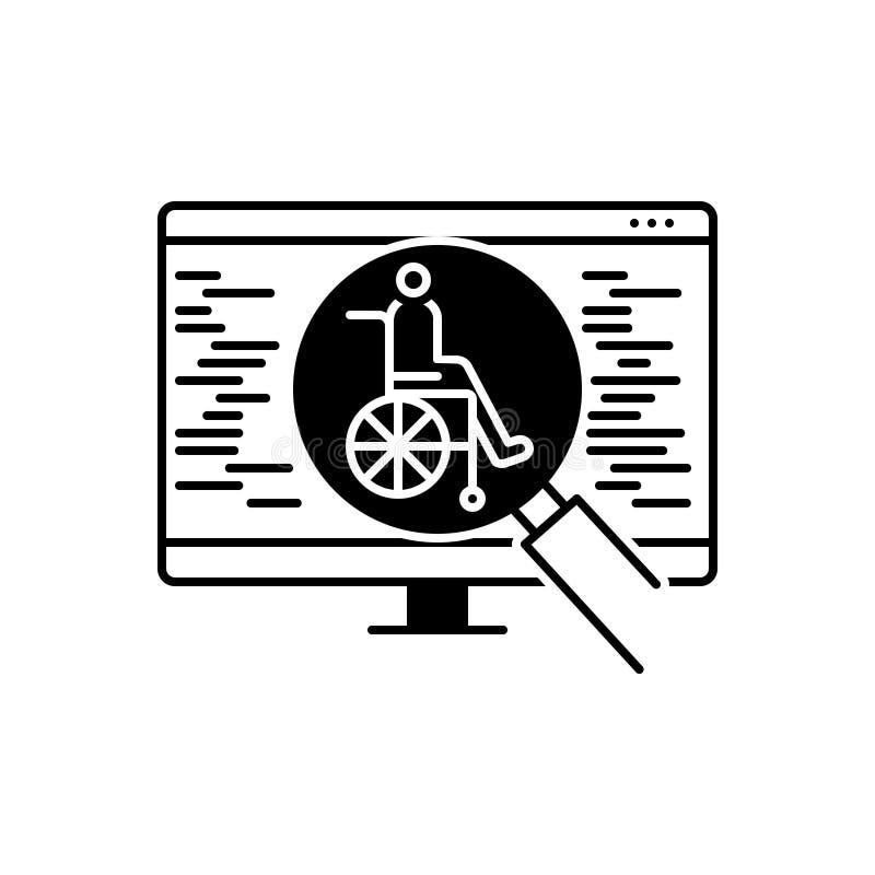 Zwart stevig pictogram voor Toegankelijkheid, optimalisering en onderzoek royalty-vrije illustratie