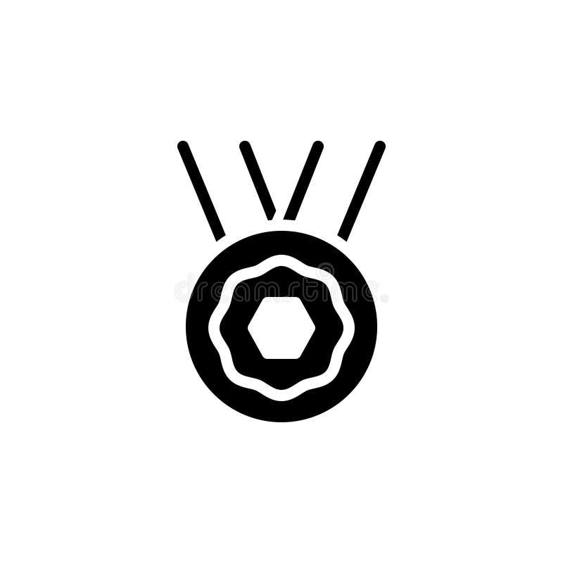 Zwart stevig pictogram voor Toekenning, beloning en medaille royalty-vrije illustratie
