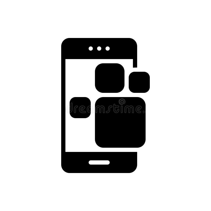 Zwart stevig pictogram voor Toepassing, app en smartphone stock illustratie