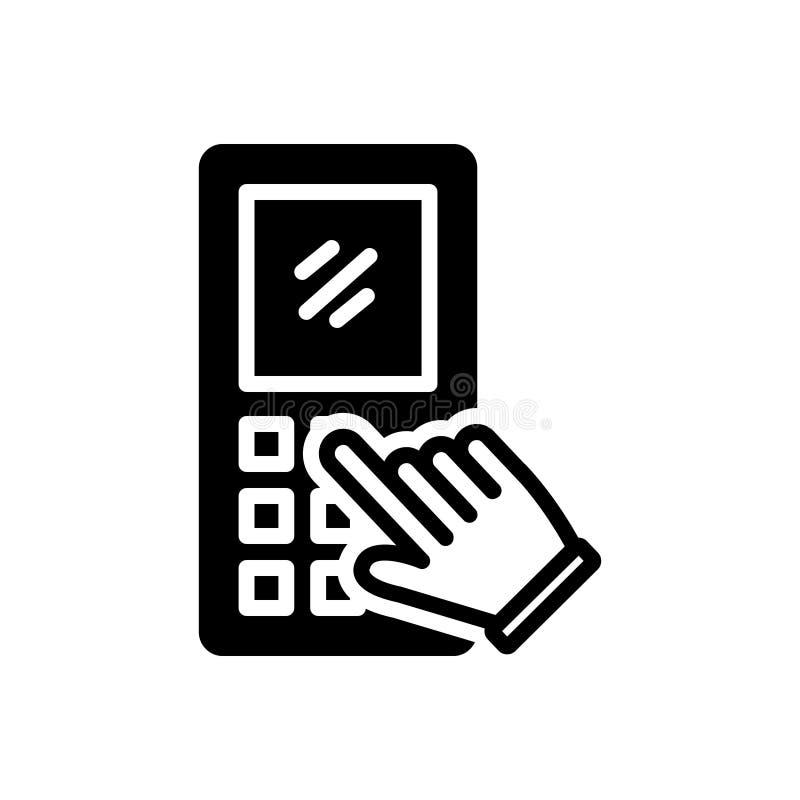 Zwart stevig pictogram voor Toetsenblok, mobiel en mededeling vector illustratie
