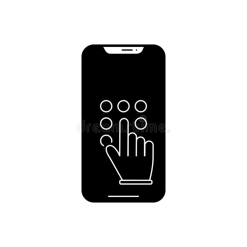 Zwart stevig pictogram voor Toetsenbord, code en hand stock illustratie
