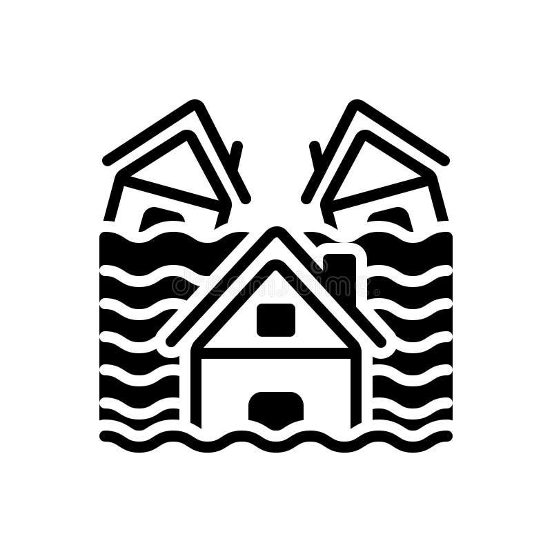 Zwart stevig pictogram voor Toevloed, overstroming en freshet vector illustratie