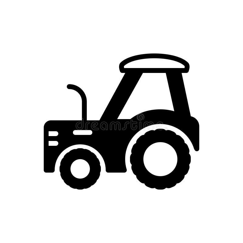 Zwart stevig pictogram voor Tractor, landbouwbedrijf en landbouw vector illustratie