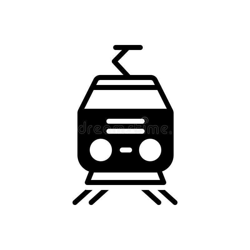 Zwart stevig pictogram voor Tram, kabel en metro stock illustratie
