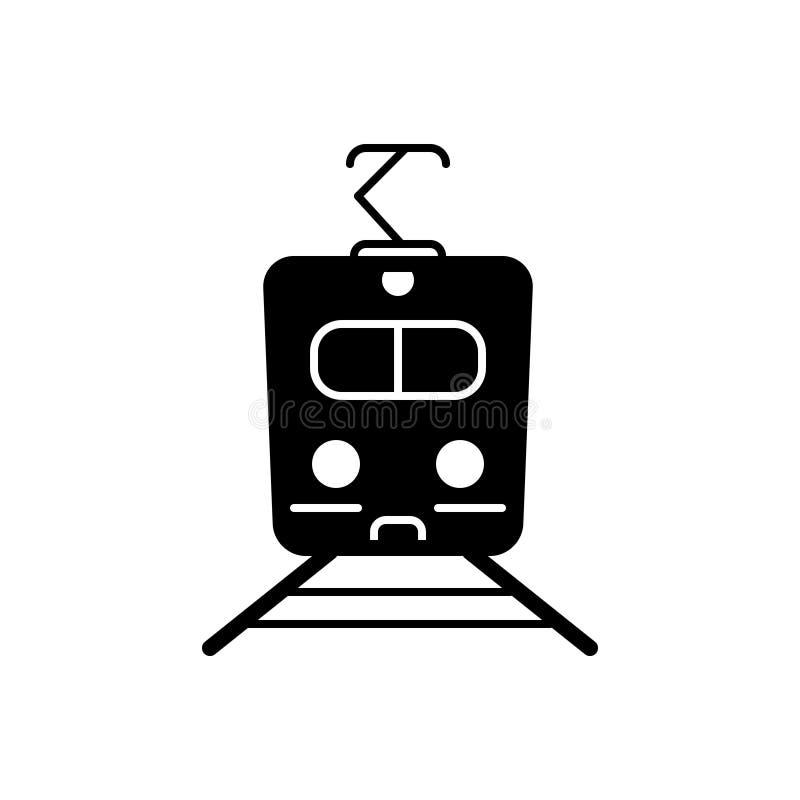 Zwart stevig pictogram voor Trein, metro en reis stock illustratie