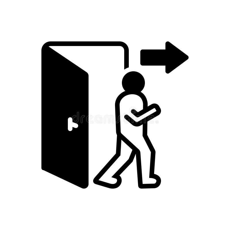 Zwart stevig pictogram voor Uitgang, uitgang en evacuatie royalty-vrije illustratie